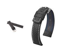 """HIRSCH Uhrenarmband, Modell """"Carbon"""", 20-22 mm, schwarz, (XL), neu!"""