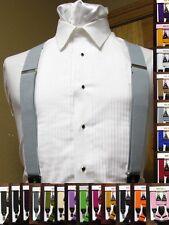 """Men's clip-on 1 1/2"""" suspenders x back Retro Steampunk Costume Tux Dance Prom"""