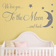 Baby Muro Adesivo Citazione-ti amiamo AL FIGLIO DELLA LUNA asilo camera da letto Decalcomania Art