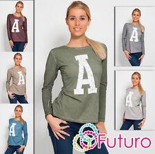 Unique Women's Casual T-Shirt Long Sleeve Blouse Crew Neck Size 8 - 12 FT543