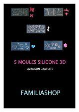 Lot 5 moule silicone 3D résine monomer acrylique liquide ou fimo nail art
