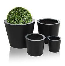 Black Polystone Round Cone Planter Plant Flower Pot Garden Patio Outdoor