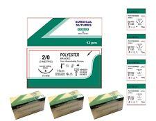 Suturas trenzado de poliéster 12 75cm 3/0 4/0 5/0 Implante Dental Cirugía De Sutura Veterinario