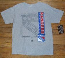 Majestic Youth Tee New York Rangers Hockey Genuine NHL Licensed Gray T-Shirt