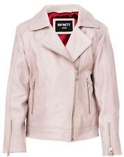 Kids Jackets Girls Designer's 100% Leather Jacket Zip Up Biker Coats (1-13Years)
