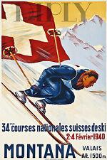 PLAQUE ALU DECO AFFICHE COURSES NATIONALES SUISSES SKI MONTANA 1940 VALAIS 1500M