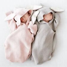 Newborn Babys Knitted Stereo Bunny Ear Swaddle Wrap Blanket Sleeping Bag UK Ship