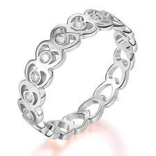 Solid 14K White Gold Heart Wedding Band Women Ring 0.07 Ct Diamond Fine Jewelry