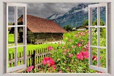Alpine Garden 3D Window View Decal WALL STICKER Home Decor Art Mural Enchanted