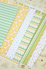 Lemon Lime Summer printed Card Stock 250gsm Dots Chevron wedding craft postcards