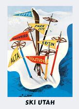 Utah Ski Skiing Park City Lifts Snowbird Alta Eden Poster Repro FREE S/H in USA