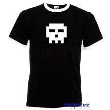 Scott Pilgrim inspired Skull T Shirt. Ringer style tee