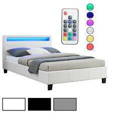 Polsterbett mit LED Einzelbett Doppelbett Jugendbett 120 x 200 cm Kunstleder