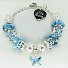 Personalised ENGRAVED Gifts Womens Girls Bracelet Blue Beads Birthday Jewellery