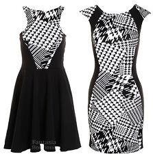 Ladies Black White Dogtooth Print Flock Flare Stretch Slim Bodycon Women's Dress