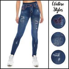 Damen Jeans-Leggings Jeans-Optik sexy Taille Hoch-Bund Legins gemustert 36 38 40