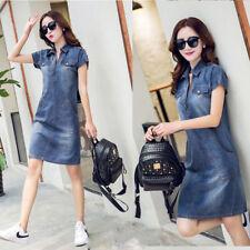 Women Girl Summer Short Sleeve Denim Dress Plus Size Lapel POLO Collar Dress NEW
