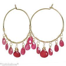 Mnemba 103 ~Ruby Teardrops on Hoop Earrings with Metal Choice