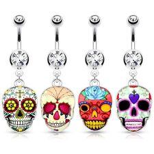Ombligo Mexican Sugar Skull máscara plata colgante piedra de cristal claro