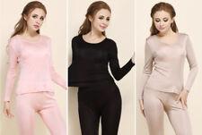 Women's Pure 100% Silk Knit Thermal Long Johns Set Silk Underwear S M L