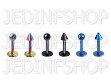 Labret Lip Stud Monroe - 1.2mm (16g) - 8mm - Titanium Anodised - Stainless Steel