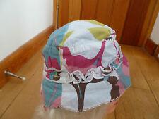 MONSOON BABY SAFFIE SUN SUMMER HAT 3 6 MONTHS WHITE DUCK EGG PINK GREEN BROWN