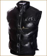 Men's Everest Puffer Black Down-Fill Real Lambskin Leather Military Waistcoat