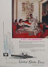 PUBLICITE UNITED STATES LINES AMERICA PAQUEBOT BATEAU RUBAN BLEU DE 1960 ADVERT