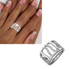 Breiter Damen Ring 925 echt Silber Zirkoniasteine glänzend Gr. 48-60 neu