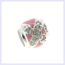 STR Silver Hugs & Kisses XO Love Pink Enamel CZ Bead for European Charm Bracelet