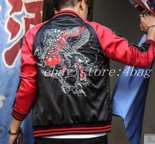 Japanese Mens Dragon Baseball Sukajan flight Jackets Bomber Coats Outwears New