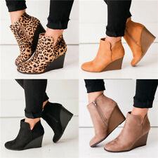 Womens Wedge Heels Chelsea Booties Ladies Zip Casual Ankle Boots Work Shoes Size