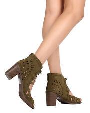 New Breckelles Gabby Olive Low Boot Sandal w/ Open Toe Heel 5 1/2 - 10 US