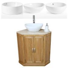Bathroom Vanity Unit Oak Corner Wash Stand Travertine & Ceramic Basin 501A