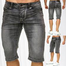 Herren Bermuda Jeans Shorts Stretch Denim Kurze Capri Hose Sommer Kontrast Nähte