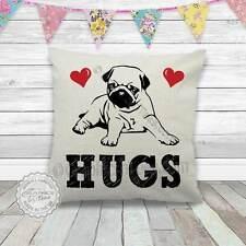Pug Puppy Cushion, Pug Hugs Pillow on Quality Linen Textured Cream Cushion
