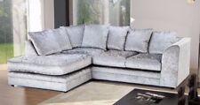 *** BRAND NEW*** Crystal Silver Black Crushed Velvet Fabric Corner Sofa Cheap