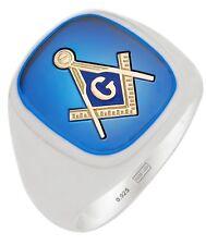 Customizable Men's 0.925 Sterling Silver or Gold Masonic Freemason Mason Ring