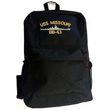 USS MISSOURI BB-63 BATTLESHIP Black Backpack Bag Hipster Streetwear