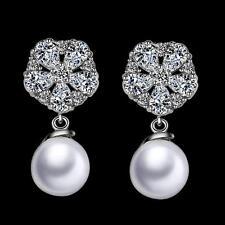 Pendientes de perlas blanco Zirconia SERIE 750 BAÑADO EN ORO 18 quilates PLATA