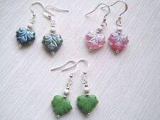 PRETTY CZECH GLASS LEAF SP Drop Earrings Green Pink Blue Leaves Stardust MAPLE