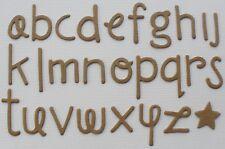 DOODLE FONT - Lowercase Alphabet Letters Chipboard Die Cuts - 60 Pc