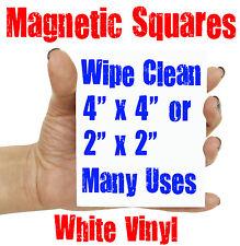 "MAGNETIC WHITE VINYL SQUARES, 4"" x 4"" or 2"" x 2"" - WIPE CLEAN FRIDGE MAGNET"