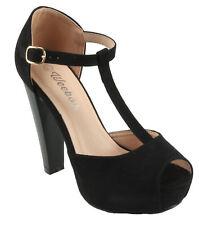 Weeboo Women's Brina-31 Platform T-Strap Peep-Toe Chuncky High Heels