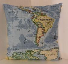Cuscino mappa copre Crema Blu Nero Crema Retro Singolo designer del mondo Atlante