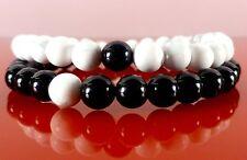Unisex Friendship Bracelets - Black Onyx White Howlite Gemstone