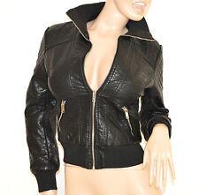 GIUBBINO donna NERO giacca pelle giacchino giubbotto giaccone polsi elastici H10