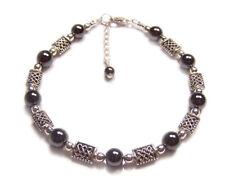 Sterling silver Hematite celtic bracelet knot work Haematite gemstone gem stone