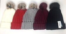 Old Navy Women's Faux Fur Pom Beanie NWT Black White Red Gray Purple Fuchsia