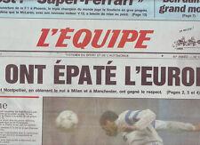 journal  l'equipe 08/03/91 FOOT MILAN AC MARSEILLE MONTPELLIER MANCHESTER UNITED